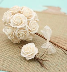 Natural Vintage Inspired Paper Creamy White Ivory Roses Wedding Pin Boutonniere. $16.50, via Etsy.