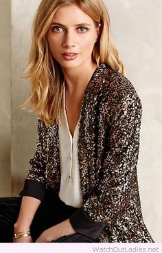 Amazing sequined blazer and simple white shirt