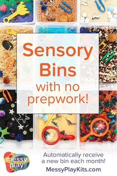 A quick and EASY way to provide sensory bins for kids! Materials for creativity, dramatic play, fine motor skills, and sensory play are all included in this monthly subscription box. No need to brainstorm sensory bin ideas! Sensory Activities Toddlers, Creative Activities, Infant Activities, Sensory Play, Activities For Kids, Creative Ideas, Play Based Learning, Kids Learning, Sensory Boxes