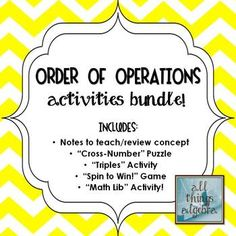 Order of Operations - Notes & Activities Bundle! Number Puzzles, Math Numbers, Teaching Math, Teaching Ideas, One Step Equations, Math Classroom, Classroom Ideas, Order Of Operations, Algebra 1