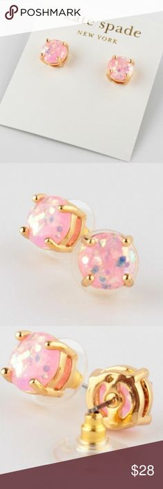 Kate Spade mini pink glitter studs! These Kate Spade 12k gold plated earrings with 14k gold-filled posts will add the perfect pop to any outfit! kate spade Jewelry Earrings