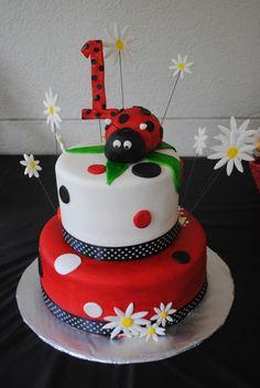 Ladybug 1st birthday cake by Jennifer Hostetler's Cakes.