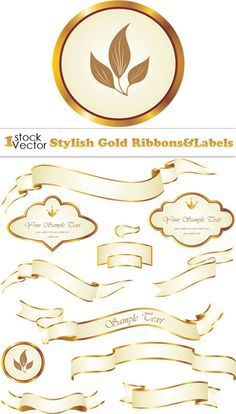 labels 7 pixelbrush stylish gold ribbonslabels vector stylish gold ribbons labels vector 450x791