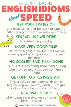 Here you will learn English idioms for progress and speed with meanings and examples. Easy way to improve your English. Improve English Speaking, Learn English Grammar, English Writing Skills, English Vocabulary Words, Learn English Words, English Idioms, English Phrases, English Language Learning, English Lessons