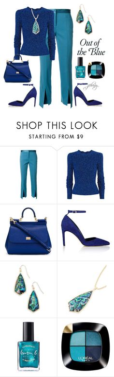 """""""Out of the Blue"""" by jfcheney ❤ liked on Polyvore featuring Versace, Isabel Marant, Dolce&Gabbana, Diane Von Furstenberg, Kendra Scott and L'Oréal Paris"""