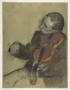 "Violinist, Study for ""The Dance Lesson"" / Edgar Degas  / ca. 1878–79 / Pastel and charcoal on green wove paper; squared for transfer in charcoal; letterpress printing on verso"