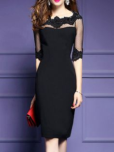 Discover Boat Neck Plain Bodycon Dress online with cheap prices and shop fashion Bodycon Dresses for any events or occasions at berrylook Polka Dot Bodycon Dresses, Cheap Dresses Online, Dress Silhouette, Fashion Dresses, Women's Fashion, Cheap Fashion, Fashion Online, Fashion Stores, Fashion Women