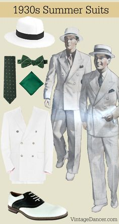 1930s menswear style summer suits, hats, shoes and ties. Get this look at VintageDancer.com