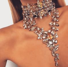 Diamond spiked elegant yet edgy gold choker necklace combination.   //Pinned on @benitathediva, LifeSTYLE Blog.