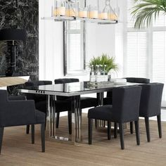 Buy Eichholtz Garibaldi Dining Table online with Houseology's Price Promise. Full Eichholtz collection with UK & International shipping. Black Glass Dining Table, Black And White Dining Room, Stainless Steel Dining Table, Black Dining Chairs, Modern Dining Table, Dining Table Online, Dining Rooms, Dining Area, Bauhaus Design