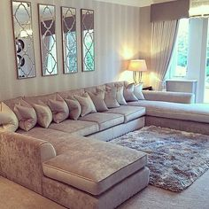 A lovely lounge for a lovely family ... Over 6m of sofa in an elegant style! All fabric is washable too so perfect for the little ones! #design #decor #instadecor #instahome #instadecor #instakids #cushions #pillows #lamps #lighting #curtains #drapes