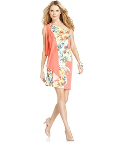 London Times Dress, Sleeveless One Shoulder Floral Printed Flyaway - Womens Dresses - Macy's
