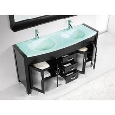 Virtu USA Ava 63 in. Double Basin Vanity in Espresso with Glass Vanity Top in Aqua and Mirror-MD-499-G-ES - The Home Depot