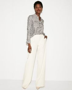 This silky shirt enhances the polished feel of a tailored pant, but thanks  to its 6c5c5f3573e8