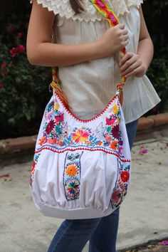 White and multi colored hand  Embroidered Huipil Boho Travel tote on Etsy, $109.00