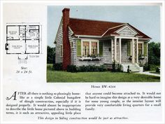 1924 Bilt-Well Model 4264 Cottage. At just about 700 square feet, this tiny house has just enough room for one person or a newly married couple. One bedroom and one bathroom in this traditional Colonial Revival offer the bare essentials. Nevertheless an attractive classic entry, fireplace, and window boxes add enough charm to make this home appealing to any buyer of modest means.
