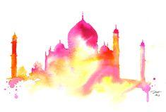 Démarrage de l'Inde, imprimez à partir d'une aquarelle originale de Taj Mahl par Jessica Durrant