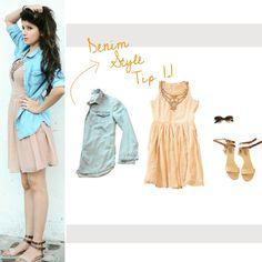 #StyleTip #1.1 #DenimPartTwo #denimshirt #styledagain  #shirtoverdress #nudecolours #embellishments #shades #cateyes