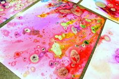 Create this beautiful marbleized paper using oil and food coloring. (it's a bit messy...but so much fun!)