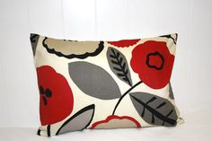 Floral lumbar pillow 12X16. Cream red gray tan by TwoGreatFriends, $8.00
