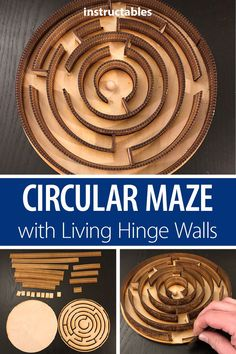 With Living Hinge Walls - Puzzles -Circular Maze With Living Hinge Walls - Puzzles - Curved laser bent wood study by Aaron Porterfield on Instructables I think I'm in love with this shape from the Silhouette Design Store! Laser Cut Wood, Laser Cutting, Living Hinge, How To Bend Wood, Maze Design, Lazer Cut, Bent Wood, Laser Cut Files, Kids Wood