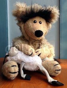 """1984 VTG Applause Wallace Berrie Wolf Holds Lamb 16"""" Plush Stuffed Animal"""