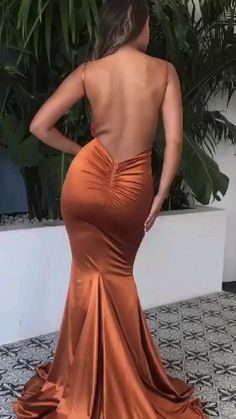 Backless Maxi Dresses, Satin Dresses, Elegant Dresses, Sexy Dresses, Beautiful Dresses, Awesome Dresses, Bodycon Prom Dresses, Orange Prom Dresses, Split Prom Dresses