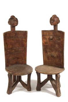PAIR AFRICAN STOOLS -   Zoromo Peoples, Tanzania - by Thomaston Place Auction Galleries #design