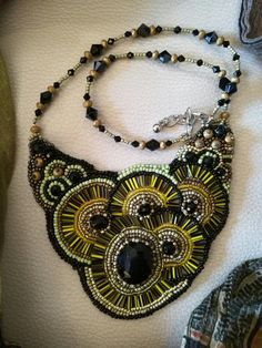 Green and Black beading embroidery necklace