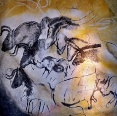 Horses from the Chauvet-Pont-d'Arc Cave - a cave in the Ardèche department of southern France that contains the earliest known cave paintings (25,000-32,000 years old), as well as other evidence of Upper Paleolithic life. It is located near the commune of Vallon-Pont-d'Arc on a limestone cliff above the former bed of the Ardèche River. Discovered on December 18th, 1994, it is considered one of the most significant prehistoric art sites.