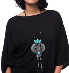 "Love Iris Apfel's style? Make a statement with her Southwestern-inspired ""Kachina"" Turquoise-Color Silvertone necklace!"
