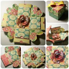 Exploding box with links to how-tos for cutting, making rose in center, and hearts at the corners.