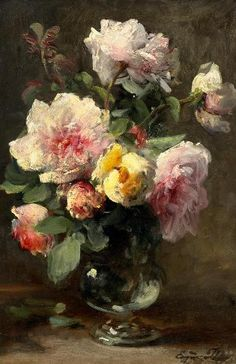 Eugène Petit - Bouquet of Roses in a Glass Vase. Oil on wood.