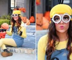 Cute minion costume, i like the idea of yellow tights instead of thigh high socks or stockings