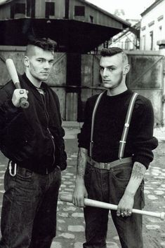 Members of Red Warriors, An Antifascist skinhead group that existed in Paris from 1986 to 1992, Photo taken in Paris in the late 1980's [564x848]