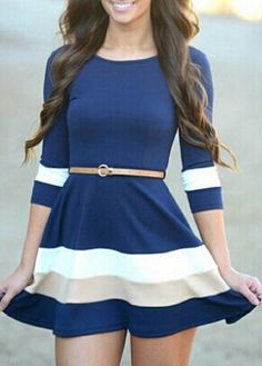 Color-block Half Sleeve Flare Dress 16.00