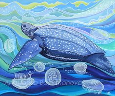"""Bring the sea to your walls with this painting of a leatherback sea turtle swimming in a colorful sea of moon jellyfish and bubbles! Details: - 20"""" x 24"""" (50.8cm x 61cm) - Varnished to seal the paint"""