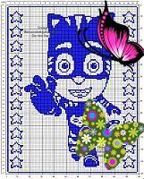 Free crochet filet pattern baby blanket with Connor Catboy PJ Masks 140x110<br> Pj Mask, Neymar, Baby Patterns, Free Crochet, Hedgehog, Masks, Blanket, Fun, Character