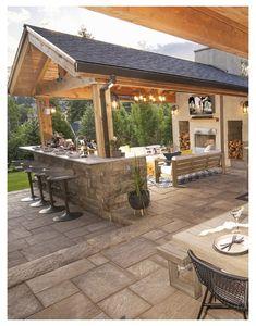 Backyard Pavilion, Backyard Patio Designs, Backyard Landscaping, Backyard Ideas, Backyard Bar, Patio Ideas Bbq, Backyard Buildings, Outdoor Buildings, Backyard Pools
