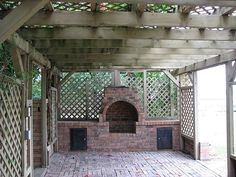 Brick fireplace/bbq pit inside the pergola and just off of the deck...i like this but there are no plans clicking on pic is a dead end... will just have to build by looking at this pic then
