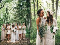 Milwaukee Bridesmaids / Bohemian Backyard Wedding in Milwaukee: Rea + Danny