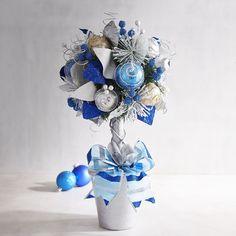 Blue & White Ball Topiary