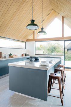 The Vine House, Minimalist, Modern Kitchen - Sustainable Kitchens Island Design Inspiration Green Kitchen, New Kitchen, Kitchen Ideas, Kitchen White, Kitchen Island, Blue Kitchen Inspiration, Design Inspiration, Design Ideas, Dream Home Design