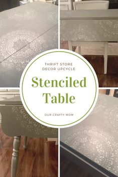 Thrift Store Decor Upcycle Stenciled Table Monthly Challenge