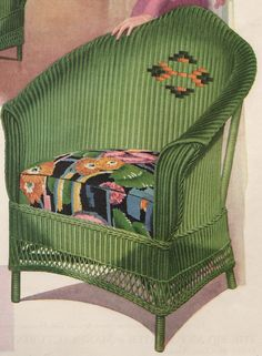 1930 Vintage Advertising Green Wicker Chair... #vintage #green #wicker  pinned by wickerparadise.com