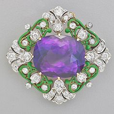 TIFFANY & CO. RENAISSANCE REVIVAL BROOCH; Quatrefoil of Suffragette colors, cushion-shaped amethyst, approx. 18.5 cts., and diamonds, approx. 1 cts. TW, set in platinum among green enamel tendrils, designed by Paulding Farnham, ca. 1900. Marked Tiffany & Co. .by Rago Arts and Auction Center