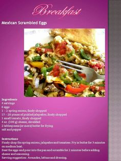 Banting Recipes, Low Carb Recipes, Banting Breakfast, Egg Ingredients, Small Tomatoes, Mexican Breakfast, Scrambled Eggs, Fries, Keto