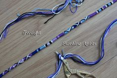 Glass bead-hair wrap, clip in-hair braid, boho braid 'Twilight' - navy blue, pale blue, purple, lilac, white and black embroidery thread by SunshineArtists on Etsy
