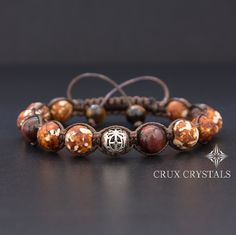 Desert View, Men's Brown Agate Shamballa Bracelet, Natural Stone, Tibetan Beaded Bracelet, Brown Macrame, Father's Day Men's Gift Crux Crystals