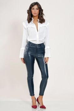 Click the link to see more about : women's genuine leather pants Leather Pants Outfit, Leather Trousers, Leather Dresses, Look Rock, Shiny Leggings, Leggings Are Not Pants, Looks Country, Leather Fashion, Mannequin